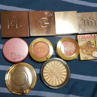 Highlighters and blushers declutter