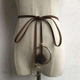 Ring Detail Tie Waist Belt (Dark Brown)