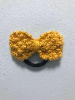 Handmade Mustard Bow Hair Tie