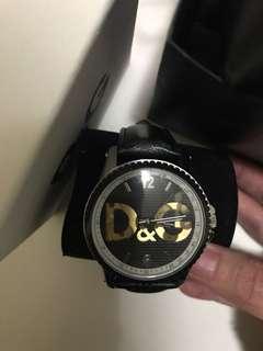 D&G 女裝黑色皮帶手表