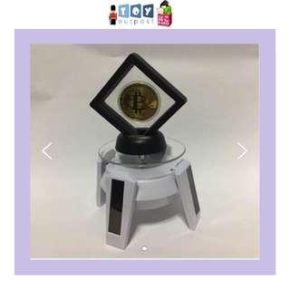 Bitcoin holder with led rotating base set