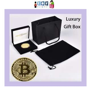 Gold Plated Bitcoin Coin with Luxury Gift Box In A Set