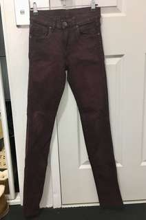 Dr Denim High Waist Burgundy Skinny Jeans