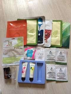 Innisfree , Sephora , kiehl's samples and some Korean mask