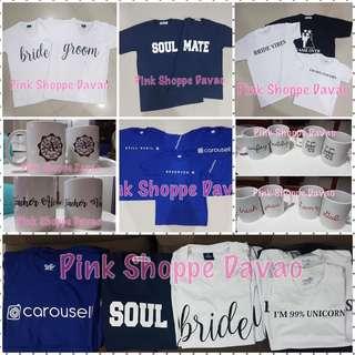 Customized Printing (couple / company tees / T-shirt, mugs, plates, caps, mouse pad, school/company logo and many more)