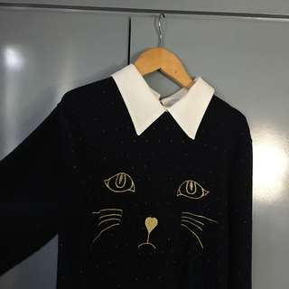 Thin cat embroidered collared sweater