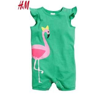 Authentic H&M Green Flamingo Bodysuit Romper Baby Toddler