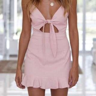 Pink tie up mini dress
