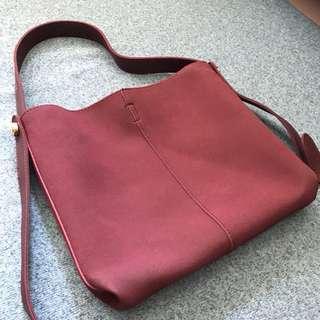 👜暗紅色真皮雙背帶肩背手提包