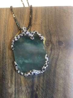 天然緬甸玉器 玻璃種-冰花青方牌 鑲18K金鑽石吊墜 (包附上:香港國際翡翠珠寶鑑定証書)