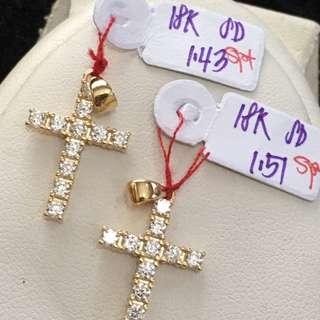 Real gold cross pendants