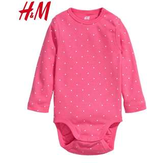 Authentic H&M Hot Pink Polka Dots Girl's Bodysuit Romper