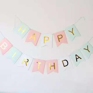 Pastel Pink Blue Happy Birthday Banner with Gold foil