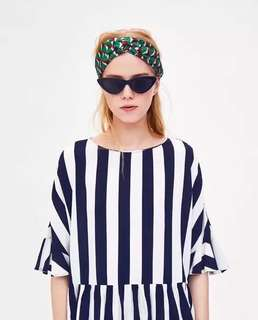 European and American style vertical stripes printed laminated sleeve round collar loose sleeve shirt