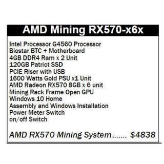 AMD Mining RX570-x6x Bitcoin ethereum full mining machine ready to use