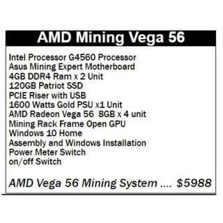 AMD Mining Vega 56 Bitcoin ethereum full mining machine ready to use