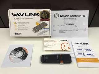 WiFi Adaptor (WAVLINK AC1300 USB 3.0 Dual Band) 有單有保 近全新