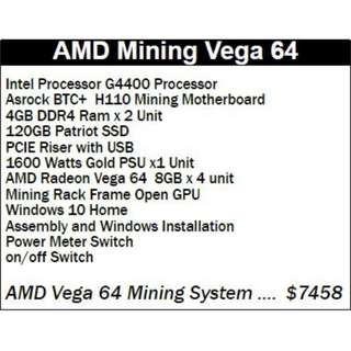 AMD Mining Vega 64 Bitcoin ethereum full mining machine ready to use
