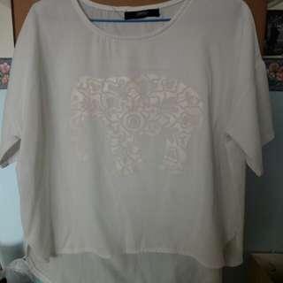 短袖上衣 白色上衣 白色t tee T-shirt t恤 素色 上衣 大象
