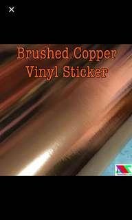 Copper brushed vinyl sticker