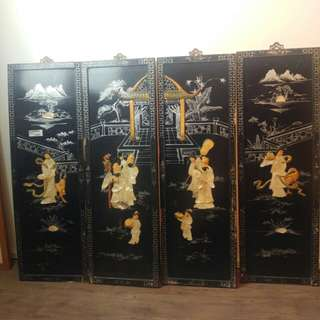 CLEARANCE SALE 4 panel chinese antique painting
