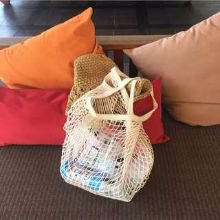 《早衣服》3月女王節👑極簡性冷淡風格拍照凹造型必備漁網袋購物袋環保袋手提包肩背包(預)
