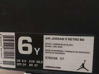 Air Jordan 11 retro bg size 6y