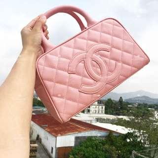 (SOLD)Chanel Vintage 粉紅色荔枝皮 Bowling Bag
