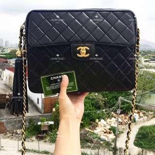 (SOLD)Chanel Vintage 黑色羊皮流蘇 Camera Bag