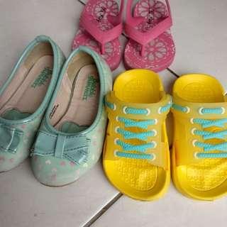 3 pasang shoes sepatu sendal anak perempuan girl