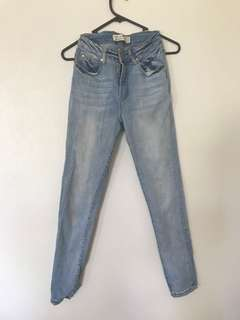 Light wash high waisted denim jeans