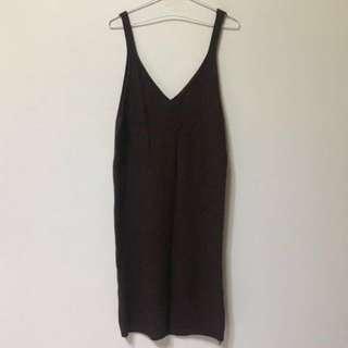 土棕色 針織連身裙 洋裝 #換季五折
