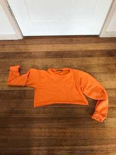 Pretty little thing cropped Fluoro neon orange jumper
