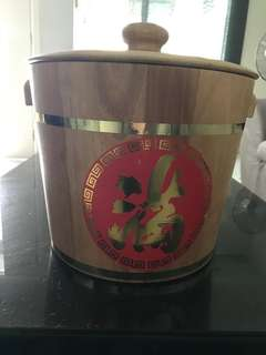 Wooden rice storage container