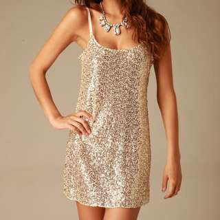 Free People Gold Sequin Slip Dress