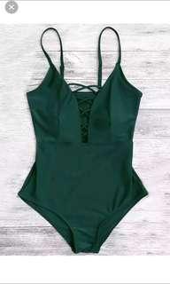 Zaful dark green L size Swimsuit