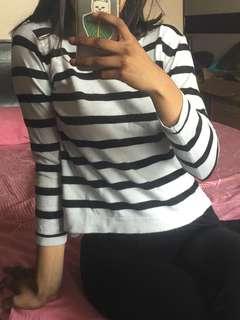 Striped lightweight long sleeve sweatshirt