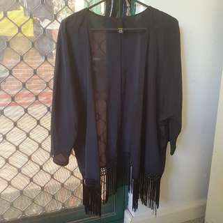 Black tassel hem kimono jacket