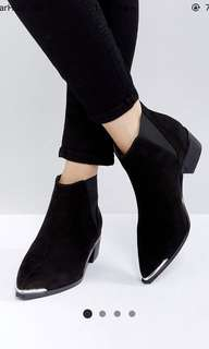Asos admission black chelsea pointed boots