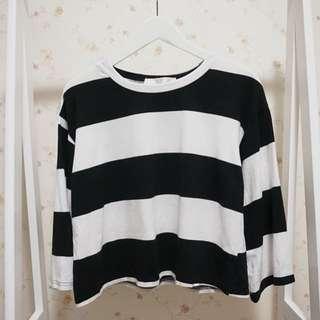 短版百搭圓領棉質撞色寬鬆八分長袖T恤上衣-黑白F