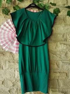 Dress salur hijau, bahan kaos adem , ngaret strecth