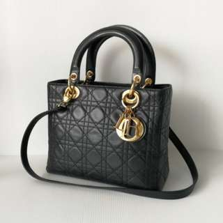Authentic Lady Dior Medium Black Ghw
