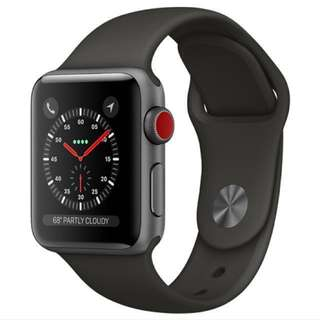 Apple Watch series 3 42mm space grey aluminum with grey sports band (GPS+Cellular) BNIB