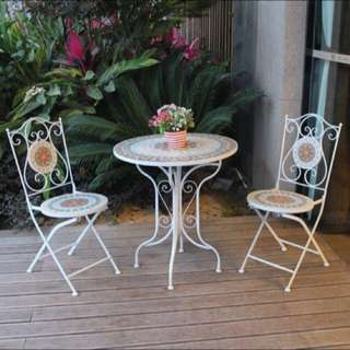Outdoor cast aluminum furniture indoor garden wrought iron table and Chair combination suites Europe