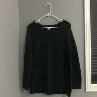Speckled Black Grey White Knit Sweater