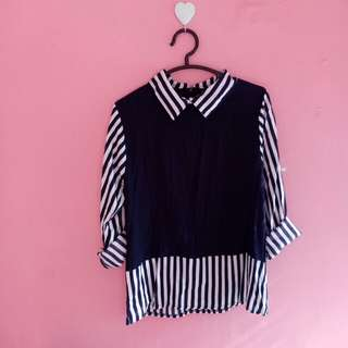 Navy stripe shirt. New without tag. Good material 👍 m-l