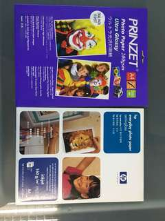 HP everyday photo paper semi-gloss + prinzet photo ultra glossy paper.