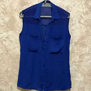 Bershka Blue Sleeveless Top - XS