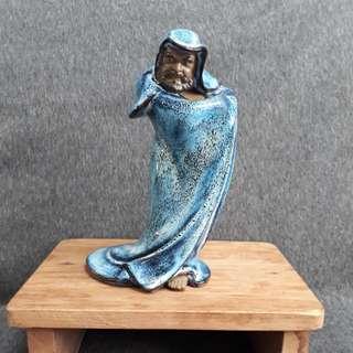 Damo/Bodhidharama blue porcelain statue