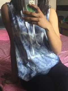Cut sleeve tie dye vest